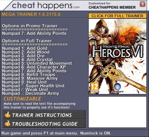 might and magic heroes 6 trainer